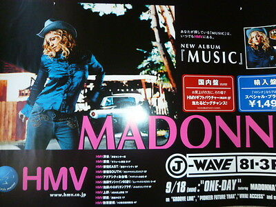 MADONNA - MUSIC : 2000 very rare JAPAN promo-only POSTER :CD/DVD/photo/picture