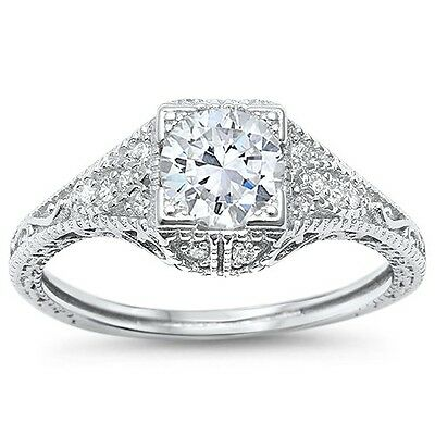 Antique Style Art Deco Modern Engagement Solitaire 925 Sterling Silver Ring 5-10