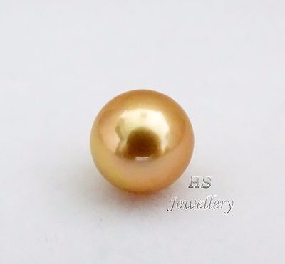 HS Round Rare Loose Golden South Sea Cultured Pearl 10.85mm in Top Grading