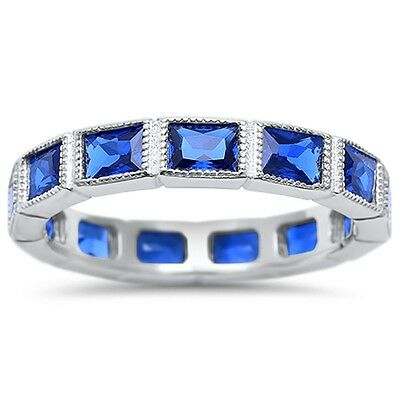 Eternity Baguette Sapphire Stacklable Wedding Band Sterling Silver Size 4-10