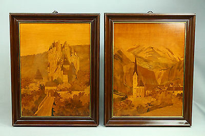 * Antique FINE Pair of German Folk Art Wood Inlay Intarsia Compositions Castle
