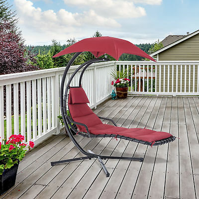 Swing Chair Hanging Hammock Chaise Stand Canopy Lounger Outdoor Patio Wine Red