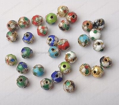 20Pcs 8mm Mixed-color Chinese Enamel Cloisonne Round Craft Beads
