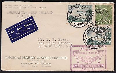 Australia 1934 Australia to New Zealand 1st Official Air Mail Flight Cover