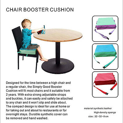 Chrilren Booster Chair Pad Dining Room Kids Baby Seat Soft Leather Cushion Cover