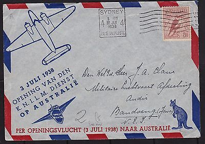 Australia 1938 Sydney to Indonesia Air mail cover military concession 6d rate