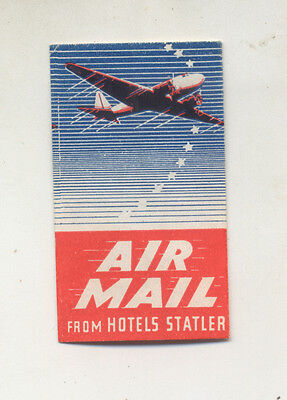 Aviation Related Poster Stamp.cinderella.air Mail From Hotels Statler Date ?