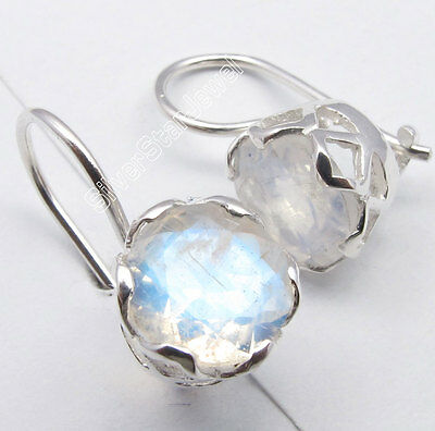 925 Pure Silver RAINBOW MOONSTONE Designer CAGE Setting Deco Earrings 1.9CM