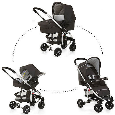 Hauck Miami 4 Trio 3in1 Travel System Pushchair Pram Carseat Caviar Black/Silver