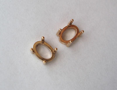 Oval Shape Settings For 7X5 Mm Stone, 14K, 4 Prong, 0.80 Grams, 2 Pieces