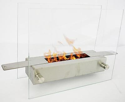 LISBON Bio Ethanol Fireplace STAINLESS STEEL Table fireplace Gelkamin silver new
