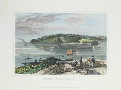 OLD ANTIQUE PRINT MOUNT EDGCUMBE PLYMOUTH DEVON c1840's ENGRAVING by DUGDALE