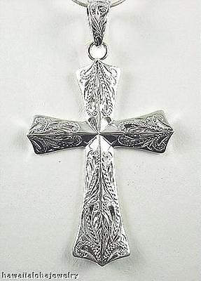 25.5Mm Hawaiian Solid 925 Ster Silver Hand Engraved Scroll Fusilly Cross Pendant