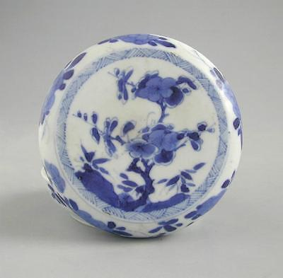 Fine Chinese Qing Dyn. Blue & White Porcelain Covered Box - Kangxi (1662 - 1722)