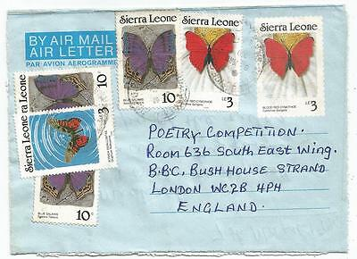 Sierra Leone Butterfly Lettre Cover Aerogramme Freetown 1990 To England