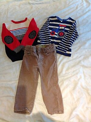 boys bundle, trousers, tractor long sleeve top and jumper. aged 18-24 months