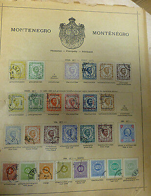 Old Montenegro Stamps 1874-1898 double sided album page