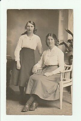 Two Girls. Vintage Real Photo Postcard By J.glass,carlisle Road, Londonderry. .