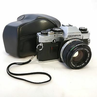VINTAGE Olympus OM10 SLR camera with Zuiko f1.8 50mm prime lens
