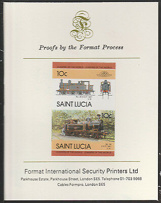 St Lucia (2019) Locomotives #4 0-6-2 Tank  imperf on Format PROOF  CARD