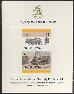 St Lucia (2024) Locomotives #5 2-4-2T JNR  imperf on Format PROOF  CARD