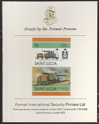 St Lucia (2027) Locomotives #5 Tip-Top Rack Loco  imperf on Format PROOF  CARD