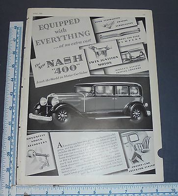 Vintage Original 1929 Nash 400 Auto Car Ad