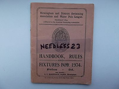 Birmingham Swimming & Water Polo league rules & fixtures 1934