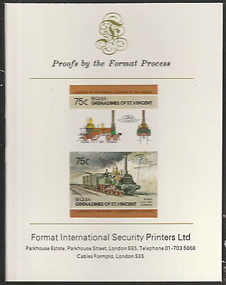 Bequia (2031) Locomotives #2 4-4-2 Borsig  imperf on Format PROOF  CARD