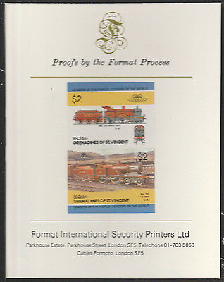 Bequia (2032) Locomotives #3 Loco 737 4-4-0  imperf on Format PROOF  CARD
