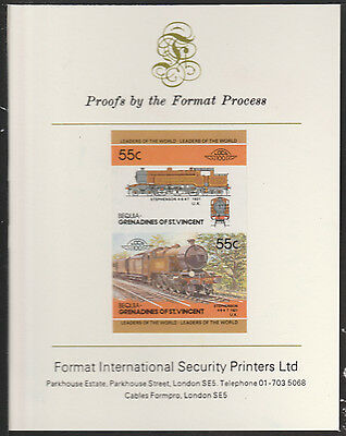 Bequia (2038) Locomotives Stephenson 4-6-4T  imperf on Format PROOF  CARD