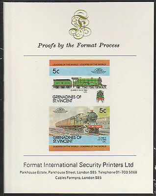Grenadines (2040) Locomotives #2 Clas V 4-4-2   imperf on Format PROOF  CARD