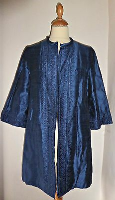 Vintage 60S Evening Cocktail Embroidered Silk Opera Duster Coat Uk 10 12