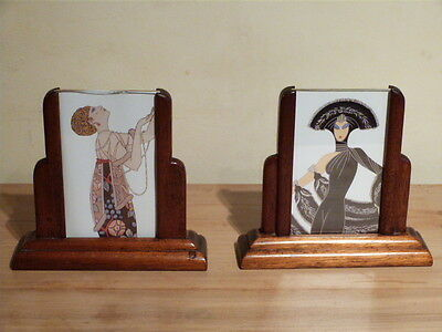 STUNNING PAIR OF RARE ART DECO 1930s FREE STANDING GLAZED PICTURE/PHOTO FRAMES.