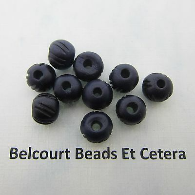 10 Bone Beads Navy Blue Hand Carved Size:  9x10mm Shape:  Round Bone Beads