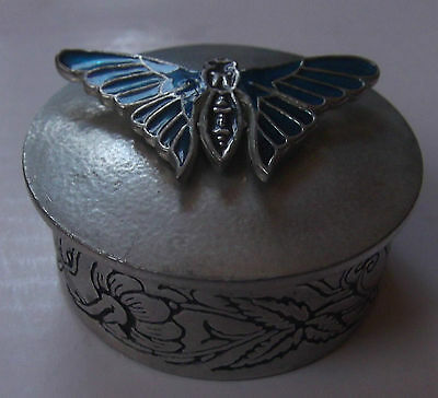 Pretty Small Metal Trinket Pot/box With Butterfly - Past Times