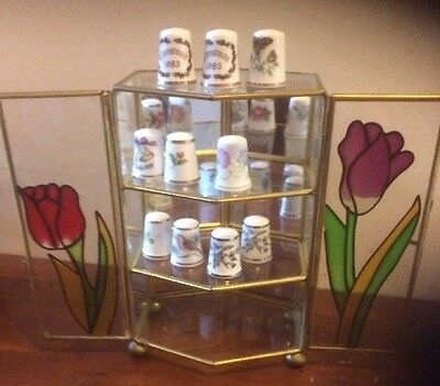 Vintage Glass Thimbles Display cabinet and 10 Royal Worcester thimbles Beautiful