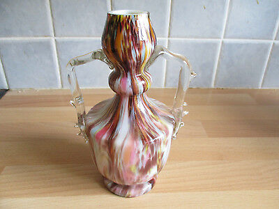 """Victorian Cased Spatter glass vase with clear handles - approx. 7"""" high"""