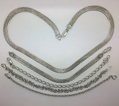 5 Job lot of Solid real silver collerette & Bracelets total weight 52.99 Grams
