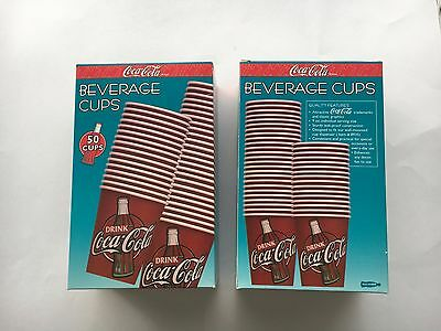 Coca-Cola Beverage Cups - 2 Boxes Of 50 Cups