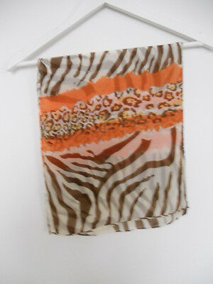 NWOT Polyester Scarf in Cream, Brown, Orange with animal pattern