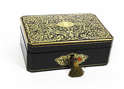 Antique Ebonised & Red Boulle Jewellery Casket  c.1860