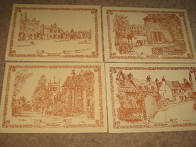 4 sketch postcards of WILTSHIRE, showing the town of Melksham, by Andrew Ayers