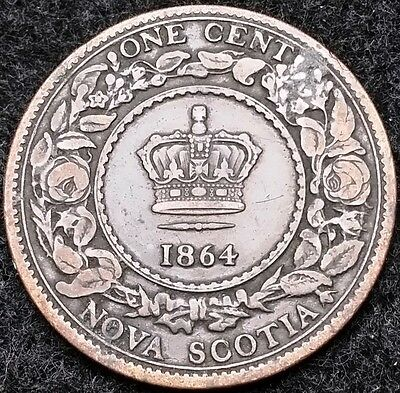 1864 Nova Scotia Canada Large Cent, One Penny - Nice Grade - Free Combined S/H