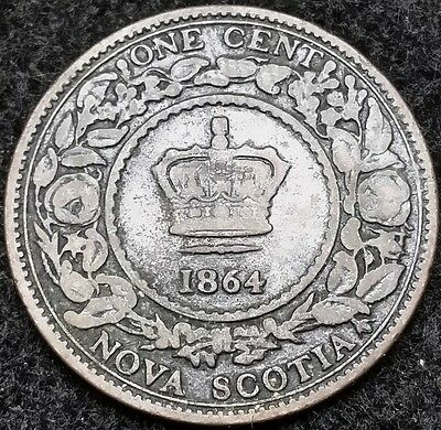 1864 Nova Scotia Canada Large Cent, One Penny - Nice Detail - Free Combined S/H