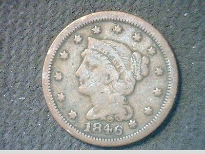 """1846 Braided hair Large Cent- Breen 1888- Open """"6"""" - VF Even Brown- V8031"""