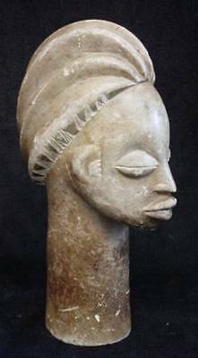 African Carved Stone Statue Woman Primitive Tribal Art