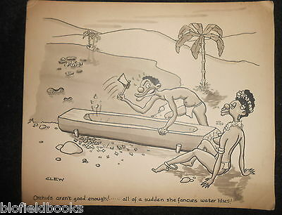 """CLIFFORD C LEWIS """"CLEW"""" Original Pen & Ink Cartoon - African Natives Canoe #501"""