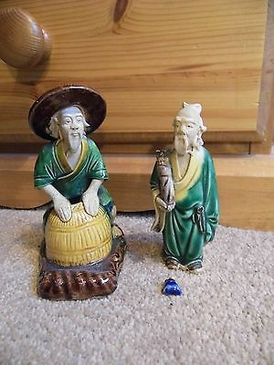 Used  2 Antique Mudmen Figures (1 Damaged)