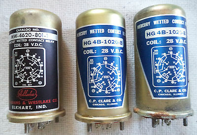 NOS Hg Wetted Contact Relay (2) CP Clark HG4B-1020-B & (1) Adams MW-4620-801-1
